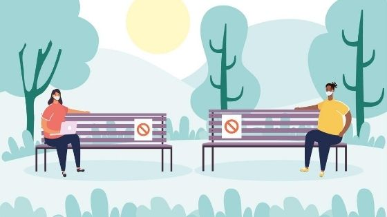 A cartoon of two people sitting far apart on a park bench.